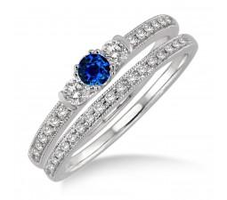 1.5 Carat Sapphire and Diamond Three Stone Bridal Set  on 10k White Gold