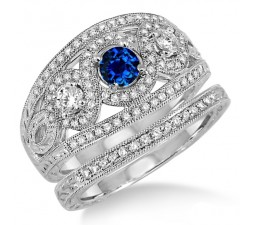 2 Carat Sapphire and Diamond Trilogy set Ring  on 10k White Gold
