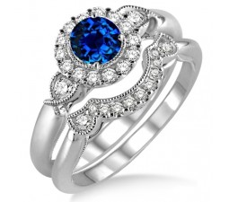 1.25 Carat Sapphire and Diamond Antique Three Stone Flower Halo Bridal Set  on 10k White Gold