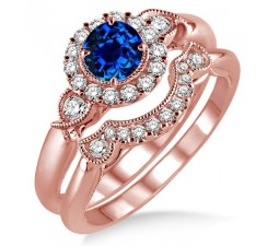 1.25 Carat Sapphire and Diamond Antique Three Stone Flower Halo Bridal Set on 10k Rose Gold