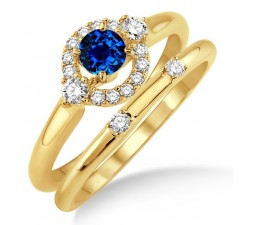 1.25 Carat Sapphire and Diamond Elegant Flower Halo Bridal Set  on 10k Yellow Gold