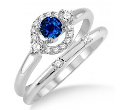 1.25 Carat Sapphire and Diamond Elegant Flower Halo Bridal Set  on 10k White Gold