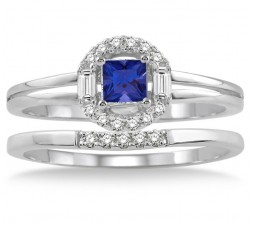 1.25 Carat Sapphire and Diamond Elegant Halo Bridal Set  on 10k White Gold