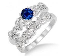1.25 Carat Sapphire and Diamond Antique Flower Bridal Set  on 10k White Gold