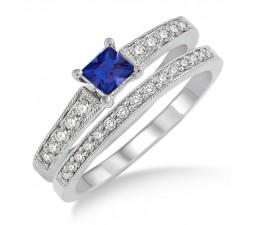 1.5 Carat Sapphire and Diamond Antique Flower Bridal Set  on 10k White Gold