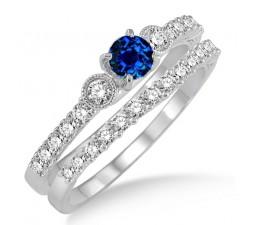 1.5 Carat Sapphire and Diamond Antique Three Stone Bridal Set  on 10k White Gold