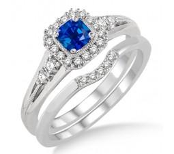 1.5 Carat Sapphire and Diamond Bridal Set Halo Engagement Ring Bridal Set on 10k White Gold