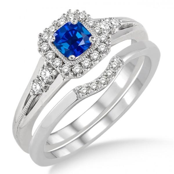 Sapphire Wedding Ring Sets Carat Sapphire And Diamond Bridal Set Halo Engagement Ring Bridal Set