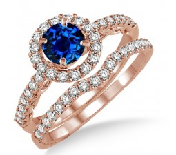 1.5 Carat Sapphire and Diamond Antique Floral Halo Bridal set on 10k Rose Gold