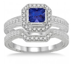 2 Carat Sapphire and Diamond Antique Halo Bridal set on 10k White Gold