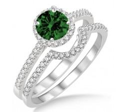 2 Carat Emerald & Diamond Halo Bridal Set Engagement Ring  on 10k White Gold