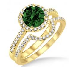 2 Carat Emerald & Diamond Halo Bridal Set Engagement Ring on 10k Yellow Gold