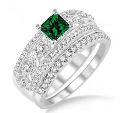 1.5 Carat Emerald & Diamond Antique Bridal Set Engagement Ring on 10k White Gold