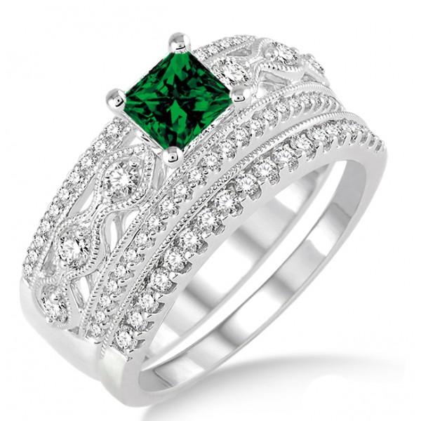 1 5 carat emerald antique bridal set engagement