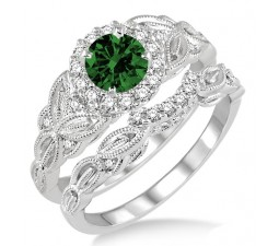 1.25 Carat Emerald & Diamond Vintage floral Bridal Set Engagement Ring  on 10k White Gold