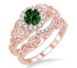 1.25 Carat Emerald & Diamond Vintage floral Bridal Set Engagement Ring on 10k Rose Gold