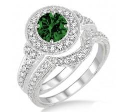 1.5 Carat Emerald & Diamond Antique Halo Bridal Set Engagement Ring  on 10k White Gold