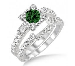 1.5 Carat Emerald & Diamond Vintage floral Bridal Set Engagement Ring  on 10k White Gold