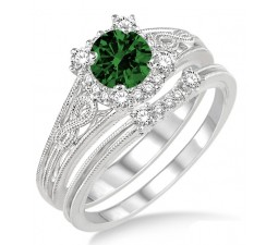 1.25 Carat Emerald & Diamond Vintage halo floral Bridal Set Engagement Ring  on 10k White Gold