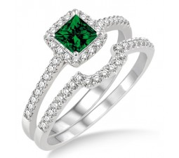 1.5 Carat Emerald & Diamond Halo Bridal Set  on 10k White Gold