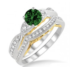 1.25 Carat Emerald & Diamond two tone bridal setround cut diamond on 10k White Gold