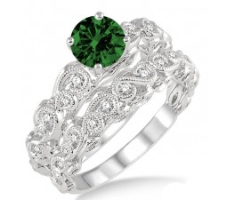 1.25 Carat Emerald & Diamond Infinity Antique Bridal setround cut diamond on 10k White Gold