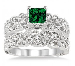 1.5 Carat Emerald & Diamond Infinity Floral Antique Bridal setRound cut diamond on 10k White Gold