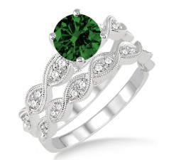 1.5 Carat Emerald & Diamond inertwined Bridal setRound cut diamond on 10k White Gold