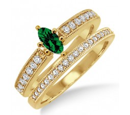 1.5 Carat Emerald & Diamond Bridal Set  on 10k Yellow Gold