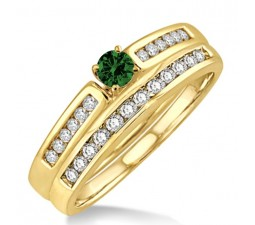 1.25 Carat Emerald & Diamond Affordable Bridal Set  on 10k Yellow Gold