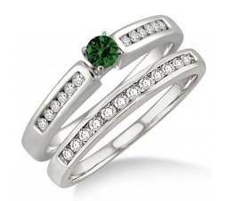 1.25 Carat Emerald & Diamond Affordable Bridal Set  on 10k White Gold