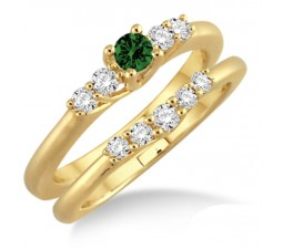 1.25 Carat Emerald & Diamond Affordable Bridal Set  on 10k Yellow Gold
