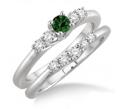 1.25 Carat Emerald & Diamond Inexpensive Bridal Set  on 10k White Gold
