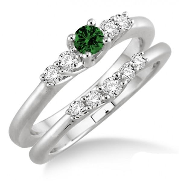 1.25 Carat Emerald & Diamond Inexpensive Bridal Set  on 10k White Gold