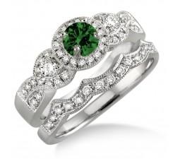 1.5 Carat Emerald & Diamond Halo Bridal Set  on 10k White Gold