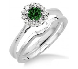 1.25 Carat Emerald & Diamond Bridal set Halo  on 10k White Gold