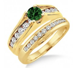 1.25 Carat Emerald & Diamond Bridal Set  on 10k Yellow Gold