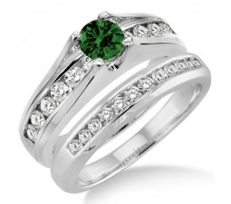 1.25 Carat Emerald & Diamond Bridal Set  on 10k White Gold