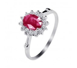 1 Carat Real Ruby Engagement Ring on Silver