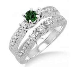 1.5 Carat Emerald & Diamond Antique Bridal set  on 10k White Gold
