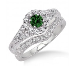1.5 Carat Emerald & Diamond Antique Floral Bridal set  on 10k White Gold