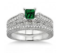2 Carat Emerald & Diamond 2.10 Carat Emerald & Diamond Antique Bridal Set Engagement Ring  on 10k White Gold
