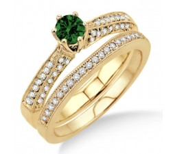 2 Carat Emerald & Diamond Antique Bridal Set Engagement Ring on 10k Yellow Gold