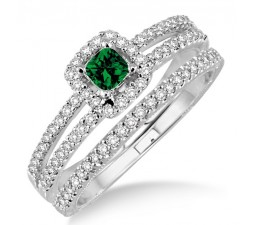 2 Carat Emerald & Diamond Bridal Set two row halo  on 10k Yellow Gold