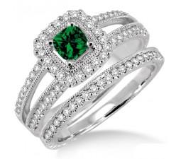 2 Carat Emerald & Diamond Antique Bridal set Halo Ring  on 10k White Gold