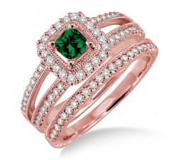 2 Carat Emerald & Diamond Antique Bridal set Halo Ring on 10k Rose Gold