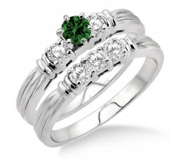 1.25 Carat Emerald & Diamond Three Stone Bridal Set  on 10k White Gold