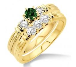 1.25 Carat Emerald & Diamond Three Stone Bridal Set  on 10k Yellow Gold