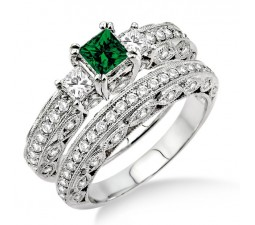 2 Carat Emerald & Diamond Antique Milgrain Trilogy Bridal set  on 10k White Gold