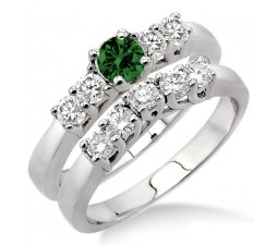 1.5 Carat Emerald & Diamond Five Stone Bridal Set  on 10k White Gold